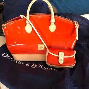 Dooney and Bourke patent orange satchel NWT